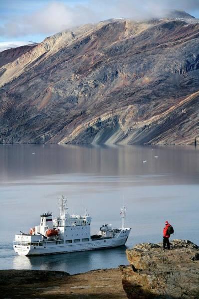 Rock Face Photograph - Tourist Ship by Steve Allen/science Photo Library