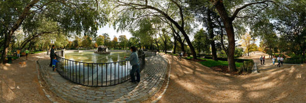 Fish Eye Lens Photograph - Tourists At A Public Park, Buen Retiro by Panoramic Images