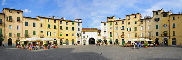 Sidewalk Cafe Photograph - Tourists At A Town Square, Piazza by Panoramic Images
