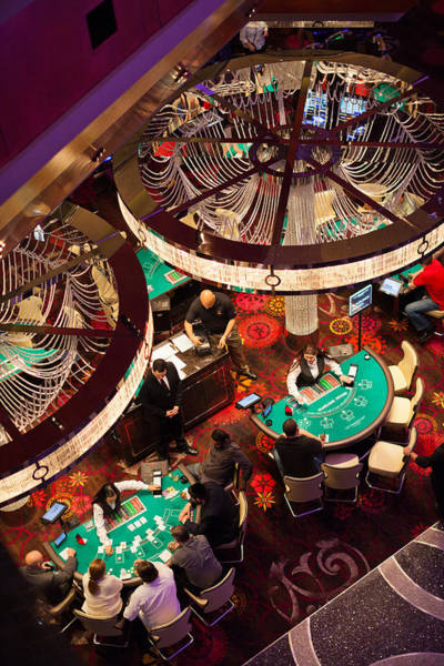 Wall Art - Photograph - Tourists At Blackjack Tables In Casino by Panoramic Images