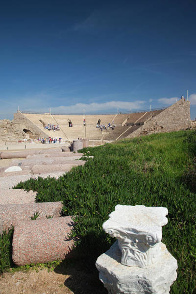 Amphitheater Wall Art - Photograph - Tourists At Caesarea Ruins Of Port by Panoramic Images