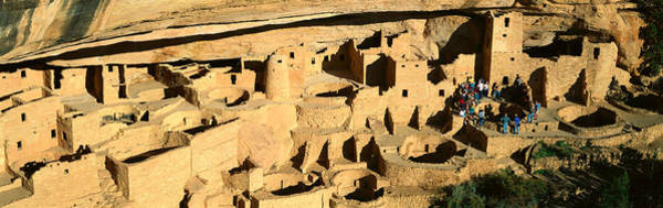 Abode Photograph - Tourists At Cliff Palace, Mesa Verde by Panoramic Images