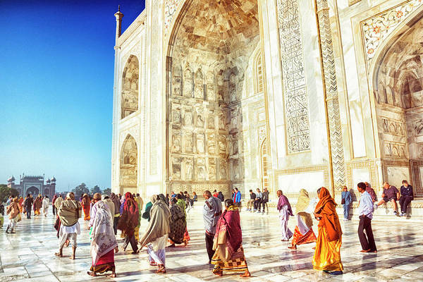 Patio Photograph - Tourists At The Taj Mahal by Powerofforever