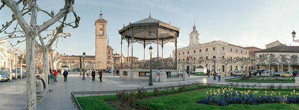 Lamppost Photograph - Tourists In Front Of Buildings, Plaza by Panoramic Images