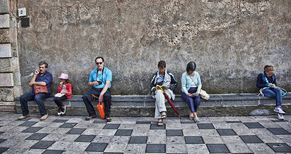 Wall Art - Photograph - Tourists On Bench 2 - Taormina - Sicily by Madeline Ellis