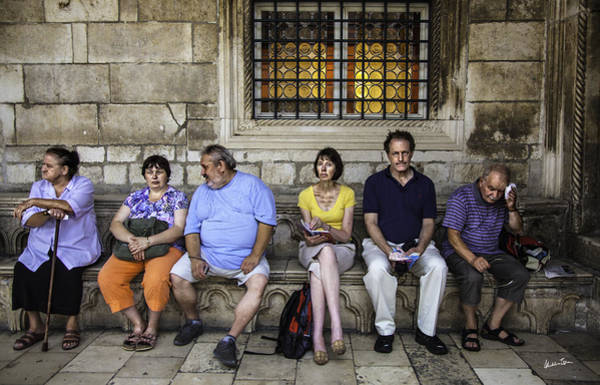 Weary Photograph - Tourists On Bench - Dubrovnik, Croatia by Madeline Ellis