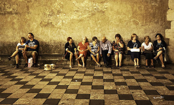 Wall Art - Photograph - Tourists On Bench - Taormina - Sicily by Madeline Ellis