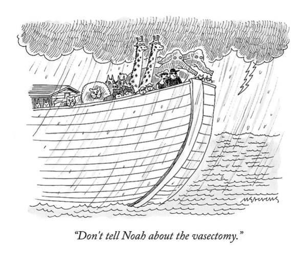 Noahs Ark Wall Art - Drawing - Tourists On Noah's Ark by Mick Stevens