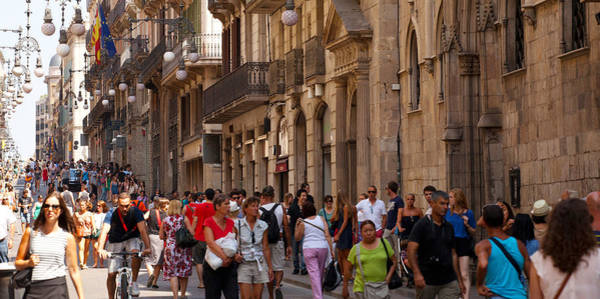 Calle Wall Art - Photograph - Tourists Walking In A Street, Calle by Panoramic Images
