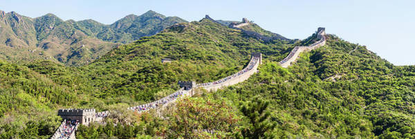 Surroundings Photograph - Tourists Walking On A Wall, Great Wall by Panoramic Images