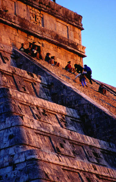 Yucatan Wall Art - Photograph - Tourists Watch The Sunset From The Top by Richard I'anson