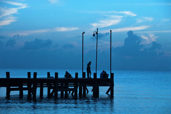 Quintana Roo Photograph - Tourists Watching Sunset From by Dennis K. Johnson