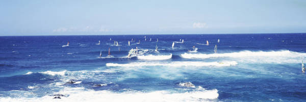 Windsurfing Photograph - Tourists Windsurfing, Hookipa Beach by Panoramic Images