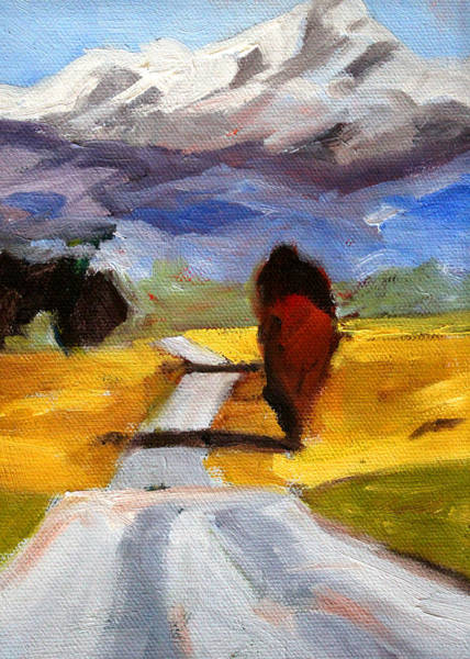 Central Oregon Wall Art - Painting - Toward The Mountain by Nancy Merkle