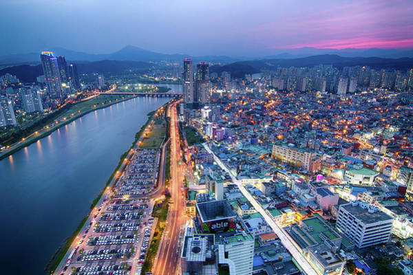 High Dynamic Range Imaging Photograph - Towards The Mountains In Ulsan At Sunset by Jason Teale Photography Www.jasonteale.com