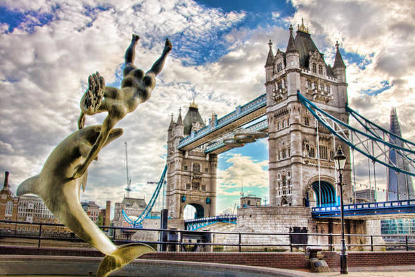 Tower Bridge And Girl With A Dolphin Art Print