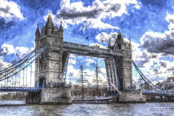 Schooner Digital Art - Tower Bridge And Passing Ship Art by David Pyatt