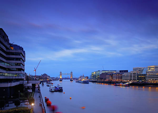 Quayside Photograph - Tower Bridge And The Thames River At by Mammuth