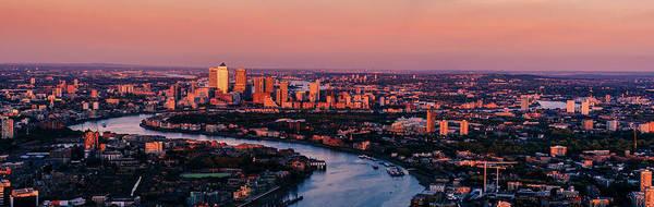 Canary Wharf Photograph - Tower Bridge, Canary Wharf At Sunset by Doug Armand