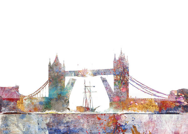River Thames Digital Art - Tower Bridge Colorsplash by MGL Meiklejohn Graphics Licensing