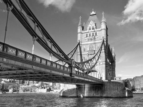 Photograph - Tower Bridge Horizontal Black And White by Gill Billington