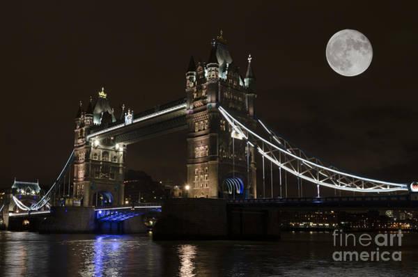 Stamford Bridge Wall Art - Photograph - Tower Bridge Moonlight by Steev Stamford