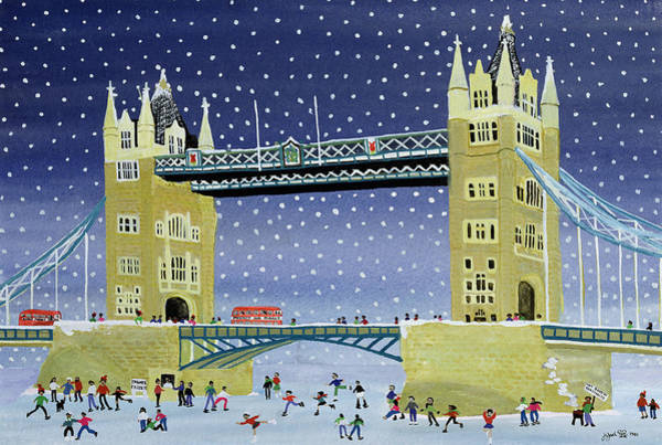 Winter Fun Painting - Tower Bridge Skating On Thin Ice by Judy Joel