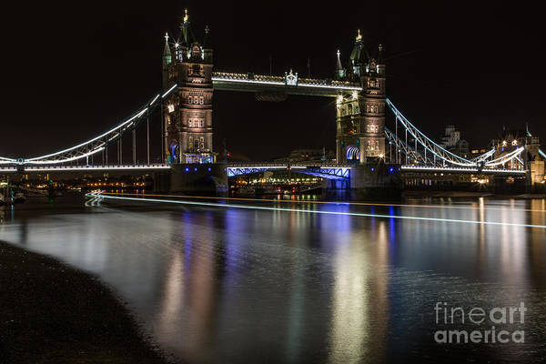 Tower Bridge With Boat Trails Art Print