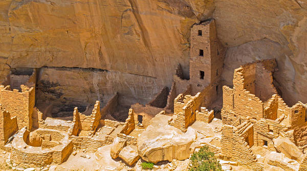 Photograph - Tower House Panorama In Mesa Verde by Gene Norris