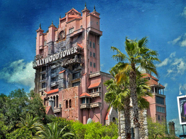 Wall Art - Photograph - Tower Of Terror Disney World Textured Sky by Thomas Woolworth