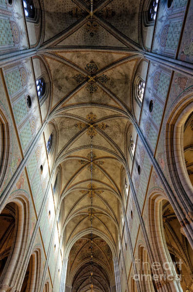 Photograph - Towering Art - The Painted Ceiling Above The Nave Of Uppsala Cathedral - Sweden by David Hill