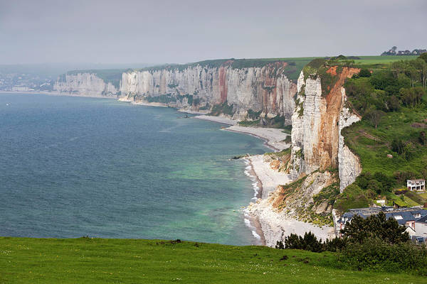 Alabaster Photograph - Town And Cliffs, Yport, Normandy, France by Danita Delimont