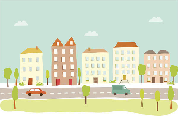 Town Houses Art Print by Amathers