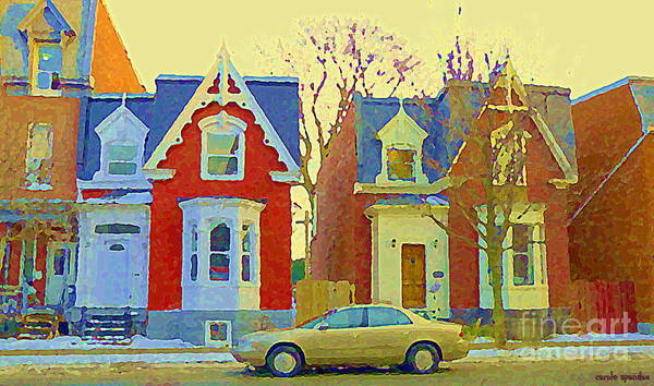 Pointe St Charles Painting - Town Houses In Winter Suburban Side Street South West Montreal City Scene Pointe St Charles Cspandau by Carole Spandau