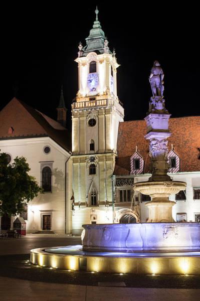 Bratislava Photograph - Town Square At Night, Bratislava by Tim E White