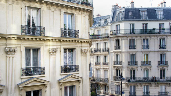 Paris Rooftop Photograph - Townhouses In Montmartre Paris France by Pidjoe