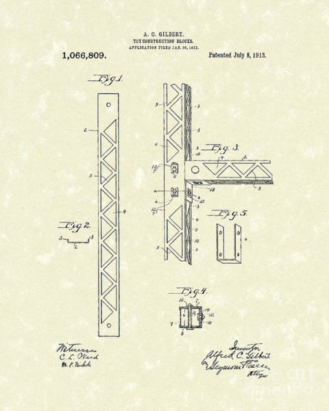 Drawing - Toy Blocks 1913 Patent Art by Prior Art Design