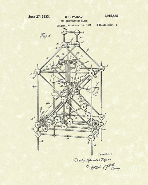 Drawing - Toy Blocks 1933 Patent Art by Prior Art Design