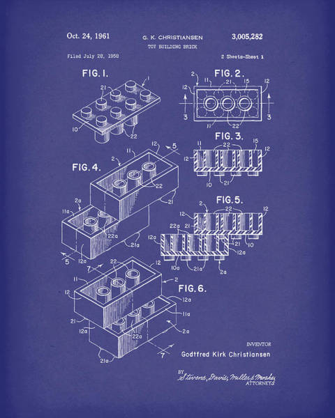 Drawing - Toy Building Brick 1961 Patent Art Blue by Prior Art Design
