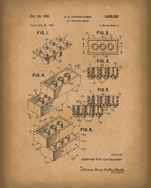 Drawing - Toy Building Brick 1961 Patent Art Brown by Prior Art Design