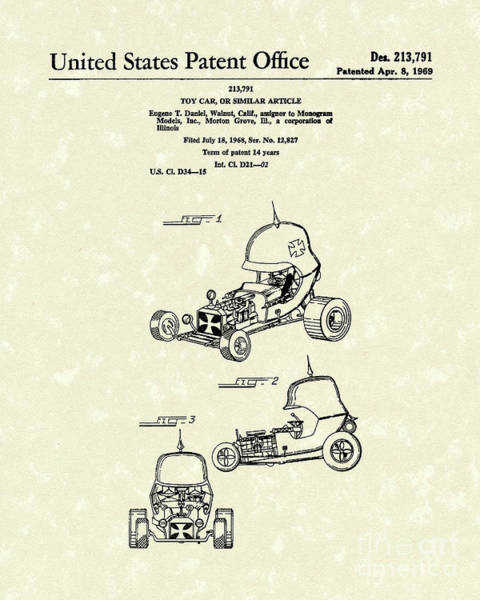 Wall Art - Drawing - Toy Car 1969 Patent Art by Prior Art Design