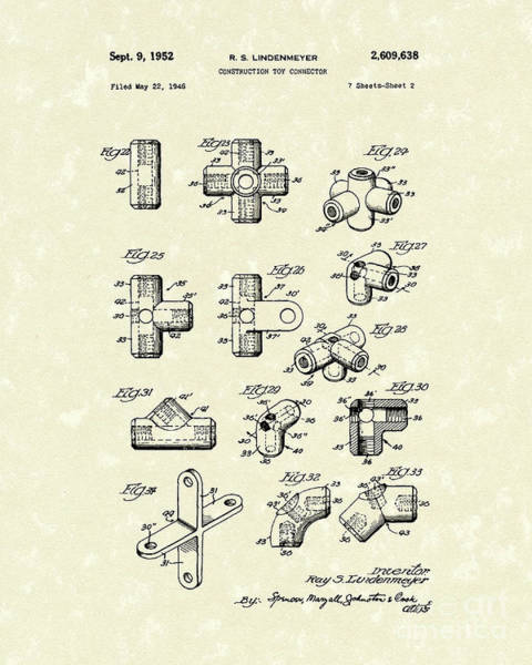 Drawing - Toy Connector 1952 Patent Art by Prior Art Design
