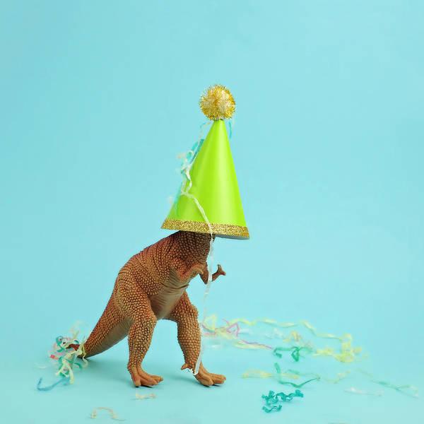 Celebration Photograph - Toy Dinosaur Wearing A Party Hat by Juj Winn