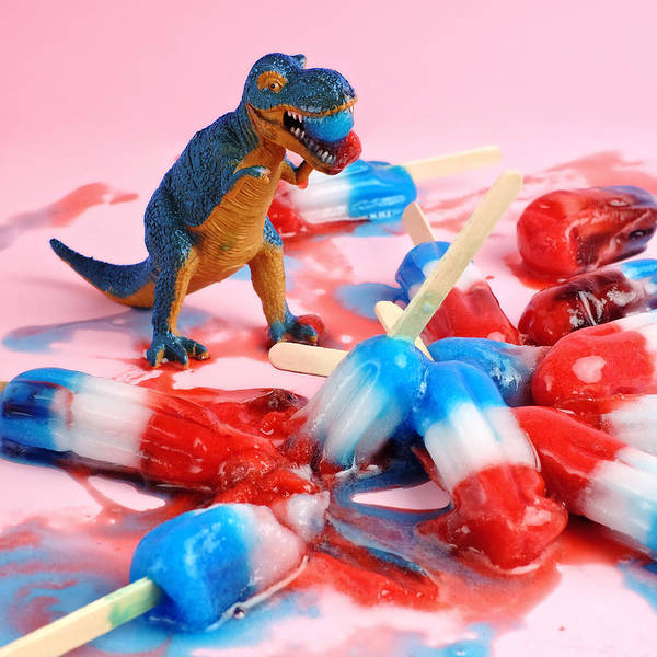 Photograph - Toy Dinosaur With Red White And Blue by Juj Winn