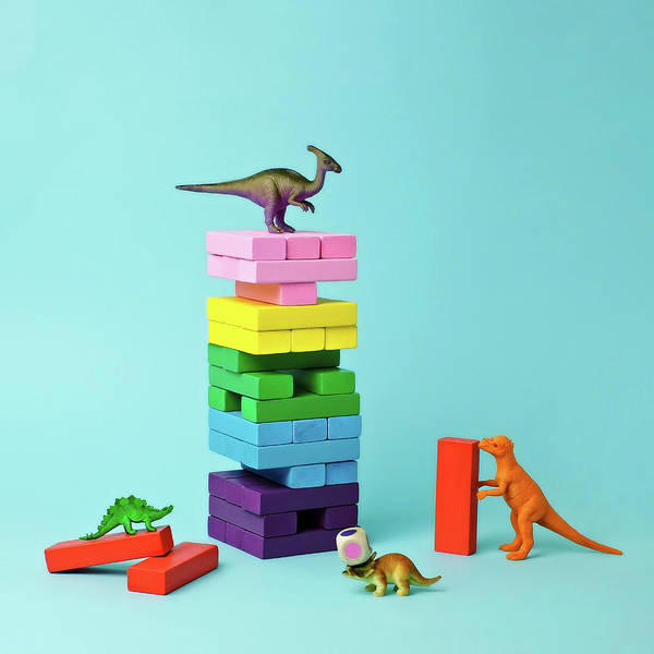 Leisure Photograph - Toy Dinosaurs And Blocks by Juj Winn