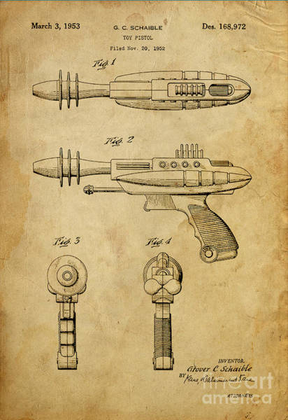 1900 Painting - Toy Pistol - Patented On 1953 by Drawspots Illustrations