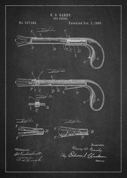 Wall Art - Digital Art - Toy Pistol Patent Drawing From 1895 by Aged Pixel