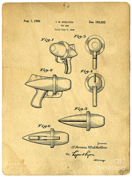 Toy Gun Photograph - Toy Ray Gun Patent by Edward Fielding