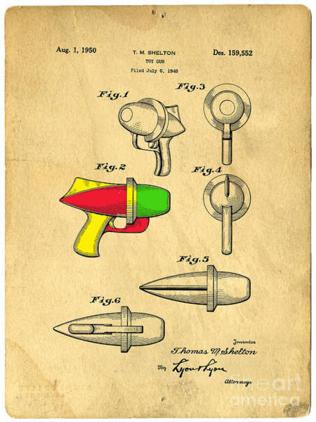 Quick Digital Art - Toy Ray Gun Patent II by Edward Fielding