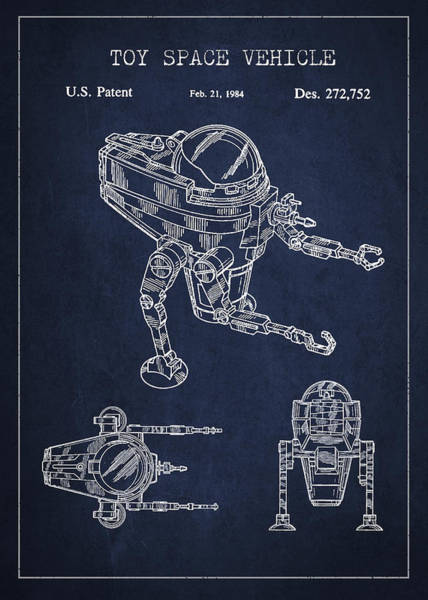 Living Space Wall Art - Digital Art - Toy Space Vehicle Patent by Aged Pixel